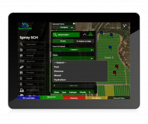 Farm in ONE Farm Management App Platform Spray Schedule observations screen