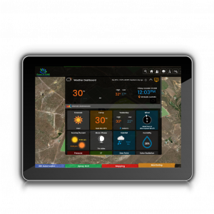 Weather Monitoring soil moisture Tablet Screen Display Agriculture Farm Farm in ONE weather dashboard available on your mobile phone or computer almost instant updates Weather Farm Display Farm Management Data Monitoring Mobile App Horticulture Farm App