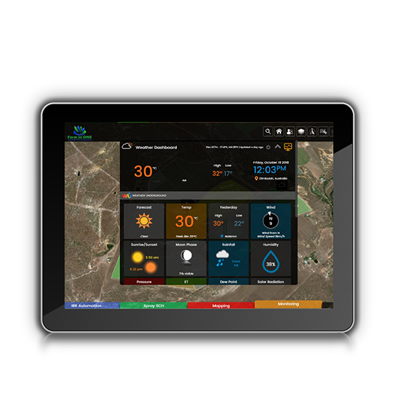 Weather Dashboard Screen on tablet