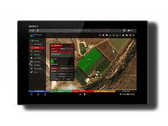 mapping screen on tablet
